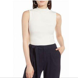 NWT Halogen White Mock Neck sleeveless knit top